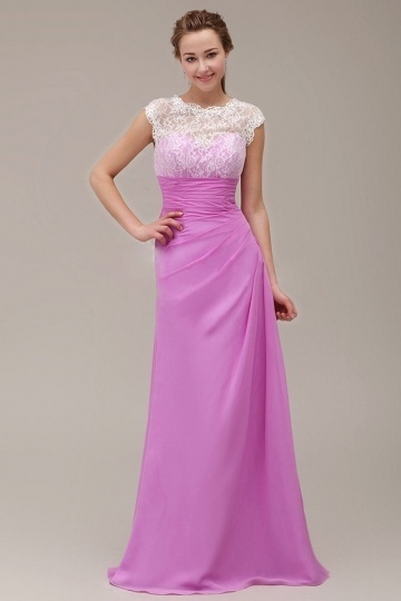 Robe longue pour mariage en fuchsia pâle à haut en dentelle blanc