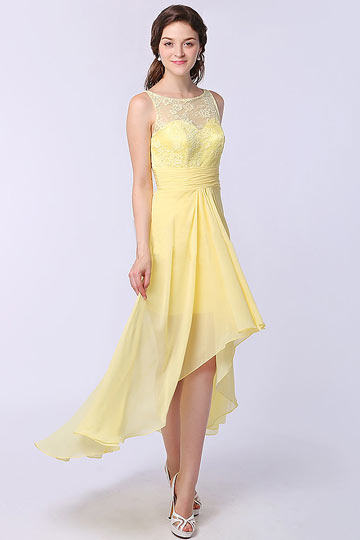 Robe jaune court devant long derrière bustier dentelle pour mariage
