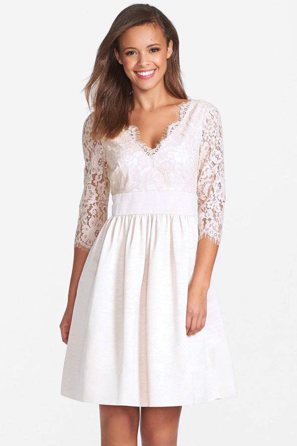 robe courte cru avec manches mi longue en dentelle pour fianailles - Robe De Tmoin De Mariage Pas Cher