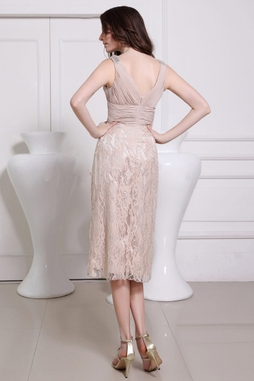 Robe de soir e de mariage mi longue jupe en dentelle for Don de robe de mariage michigan