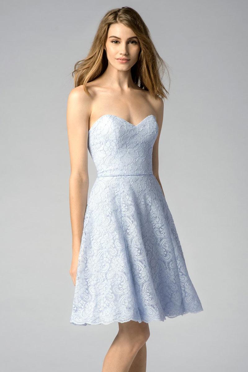 robe bleu pastel pour f te de mariage en dentelle courte