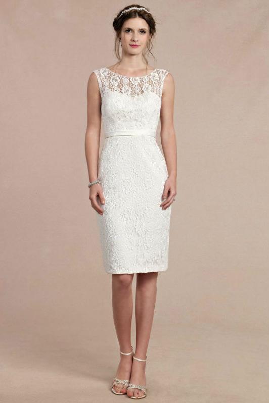 Robe blanc cass genoux en dentelle pour cocktail de for Robe de cocktail en dentelle pour mariage