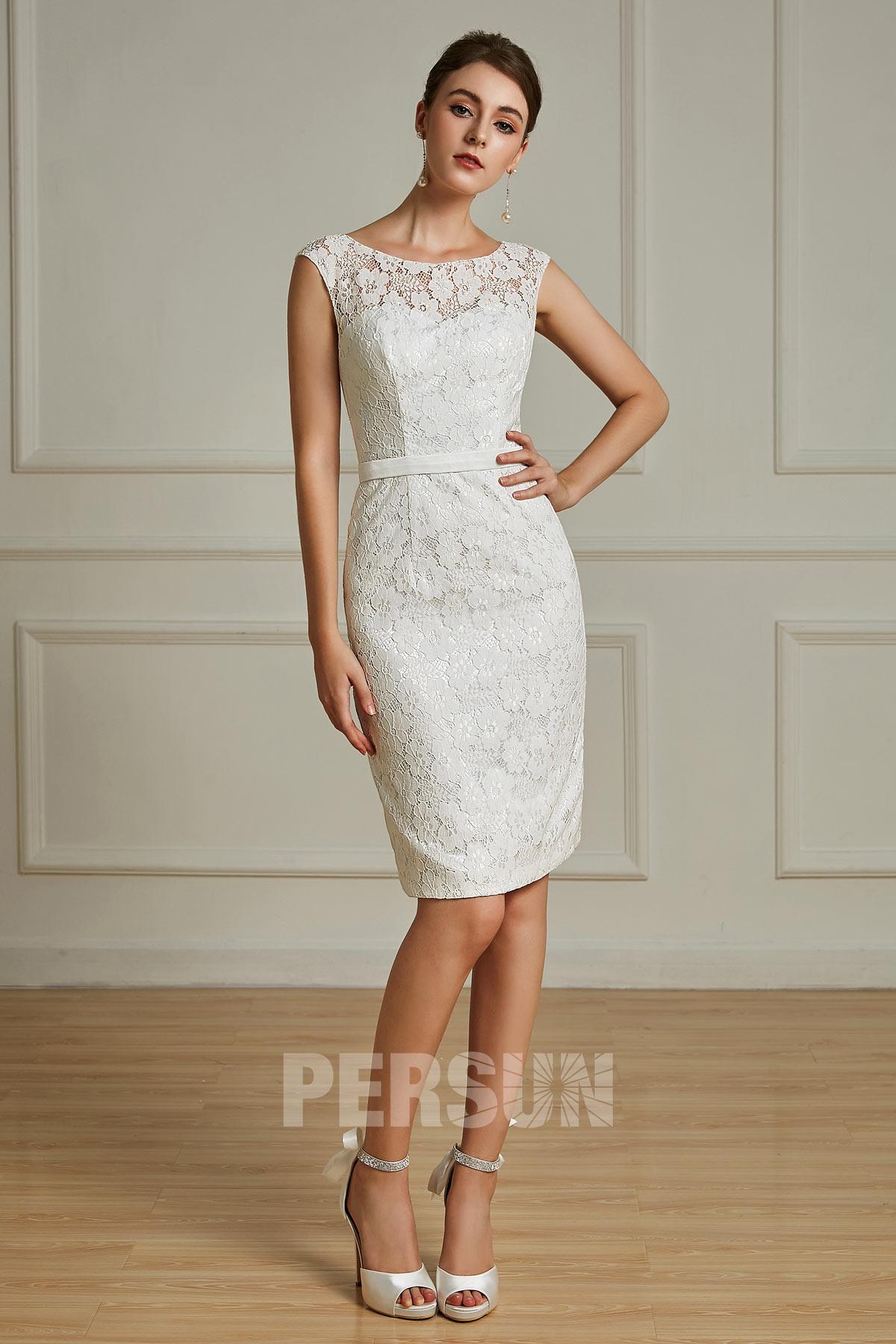 robe blanc cass genoux en dentelle pour cocktail de mariage. Black Bedroom Furniture Sets. Home Design Ideas