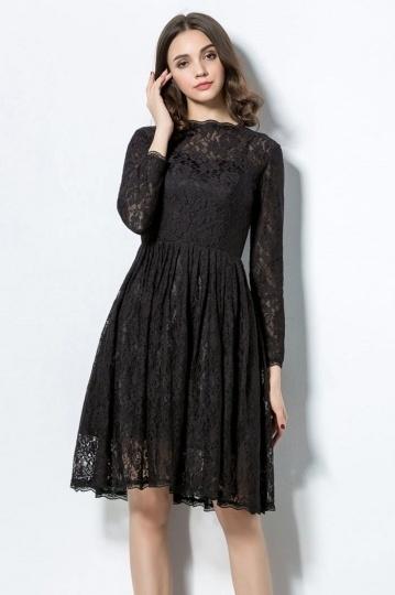 robe du soir courte genoux manches longues en dentelle noire. Black Bedroom Furniture Sets. Home Design Ideas