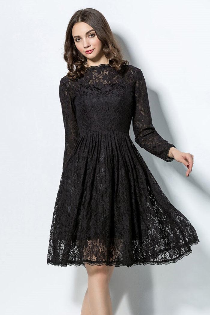 la mode des robes de france robe noire avec manche dentelle. Black Bedroom Furniture Sets. Home Design Ideas