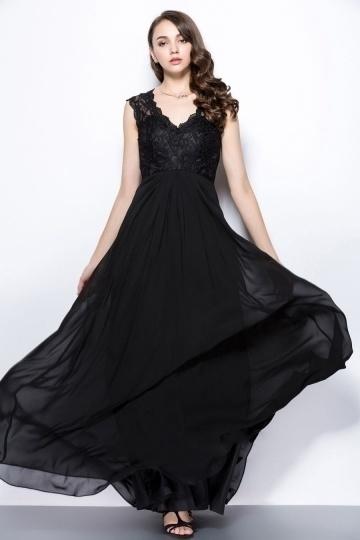 Robe longue de soirée noire à dos ajouré haut en dentelle