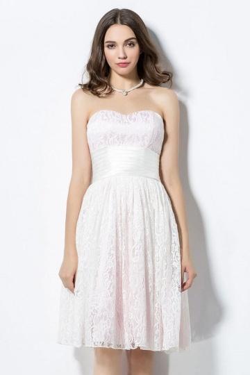 Robe pour mariage bustier courte en dentelle