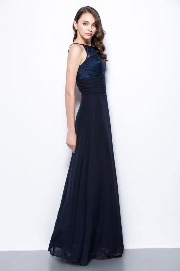 Chic Robe longue bleu marine à haut dentelle pour mariage