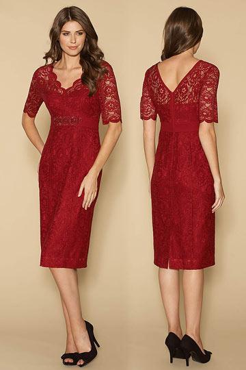 Robe de soirée courte manches courtes dentelle rouge pour mère