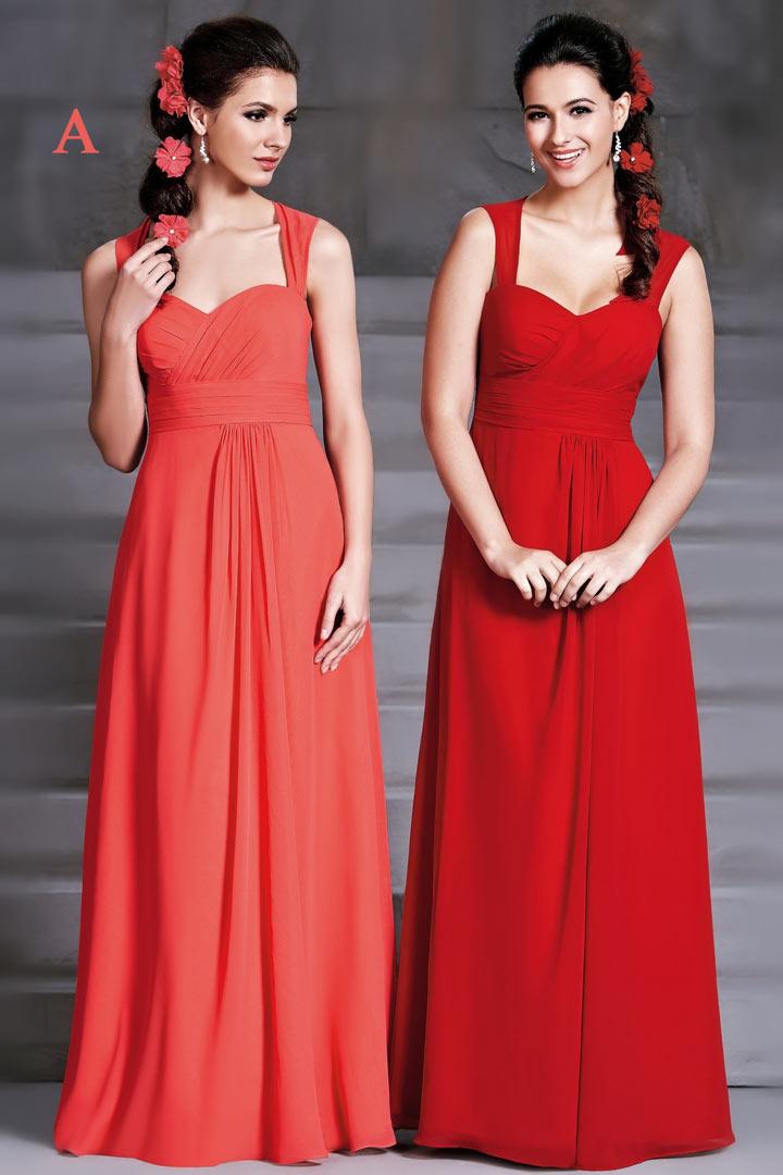 Robe cort ge mariage longue en mousseline rouge dos for Robes rouges pour les mariages