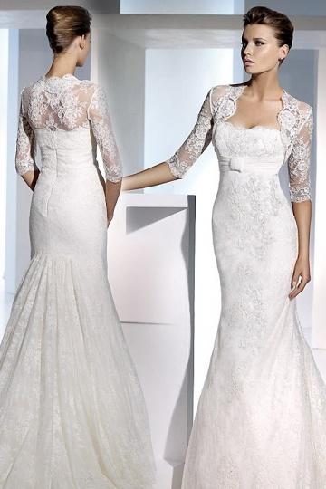 Boléro pour robe de mariage classique manches mi-longues appliques en dentelle