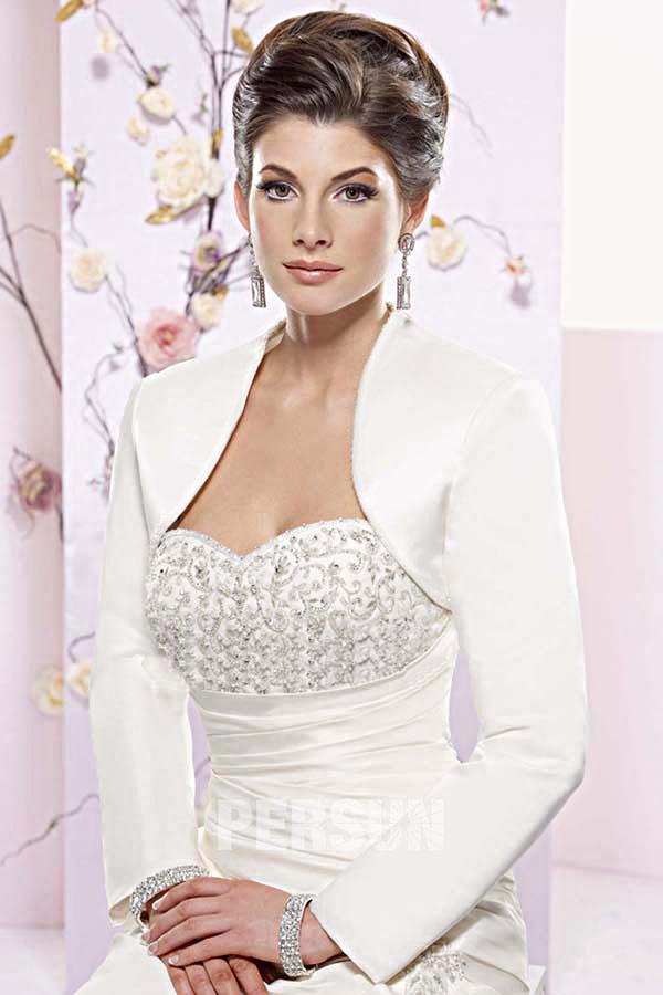 bolro chic mariage manches longues en satin plusieurs couleurs - Bolero Mariage Blanc