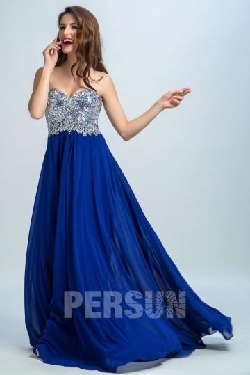 Robe de soirée longue bleu à bustier coeur brillant