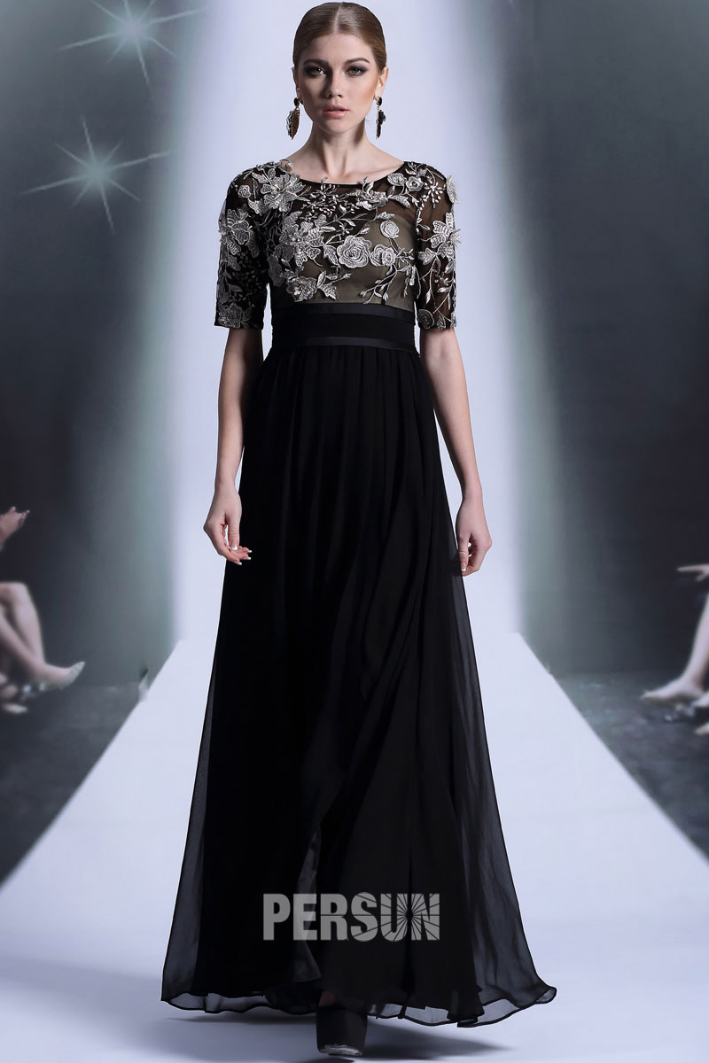 Robe longue noire taille empire