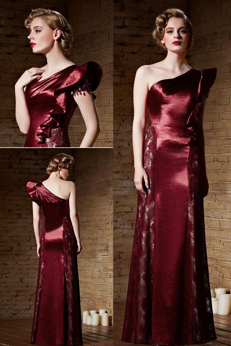 robe de soir e l gante bordeaux design asym trique. Black Bedroom Furniture Sets. Home Design Ideas