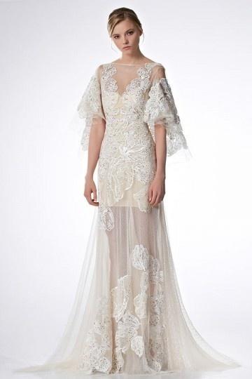 Robe de mariée semi transparente dos dénudé avec manche cape