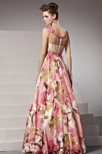 Robe soirée chic fleurs imprimées rose perles appliquées