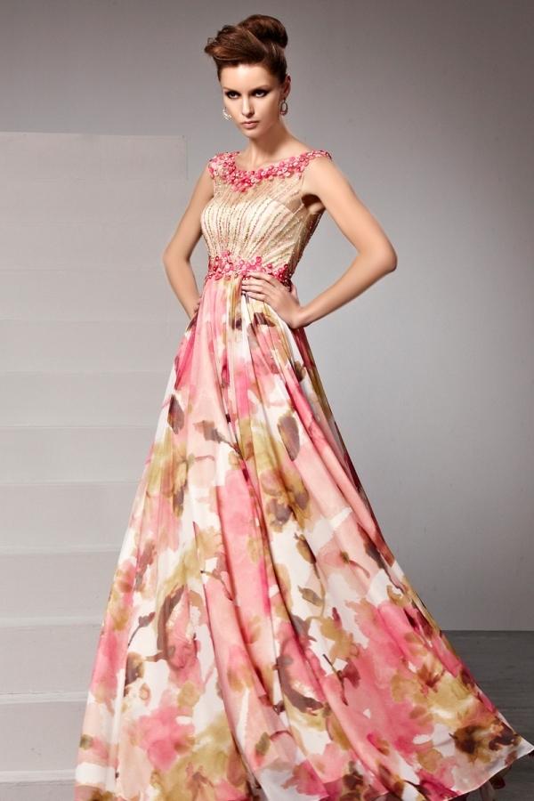 Assez Robe soirée chic fleurs imprimées rose perles appliquées - Persun.fr EQ54