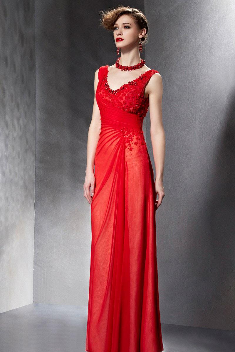 chic robe rouge col en v en mousseline. Black Bedroom Furniture Sets. Home Design Ideas