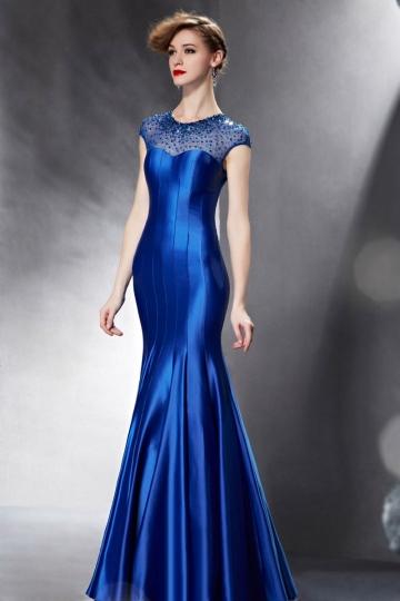 Robe de soirée bleue sirène ornée avec paillettes et bijoux