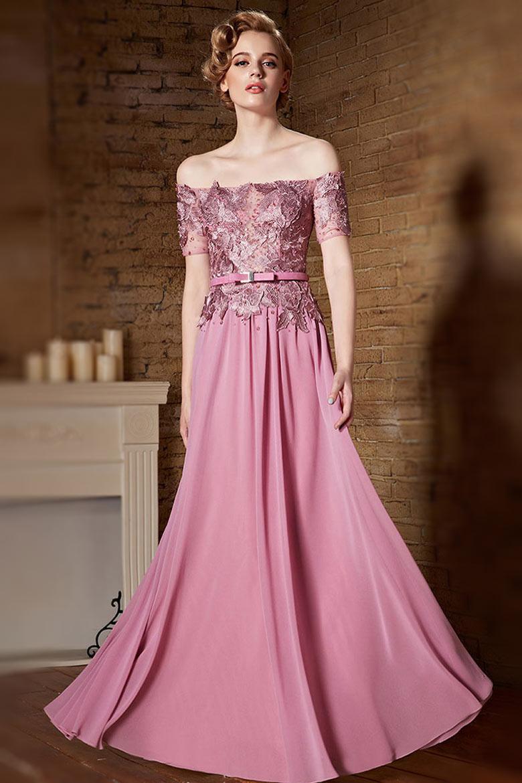 robe rose longue paules d nud es haut appliqu e de dentelle ajour e. Black Bedroom Furniture Sets. Home Design Ideas