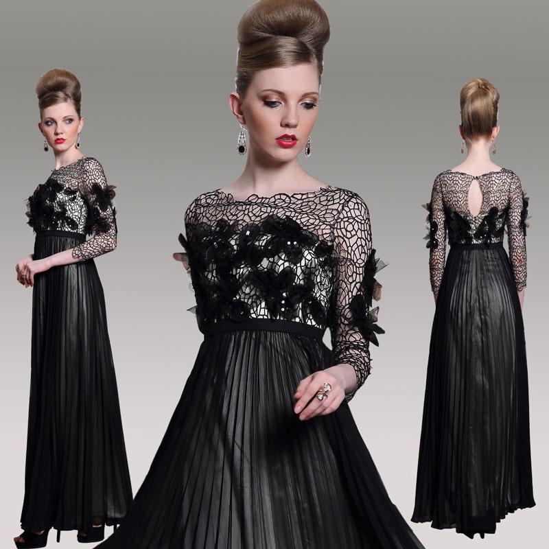robe noire de soirée à manche longue