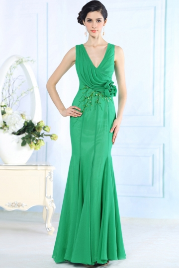 Verte Robe de soirée sirène à col en V