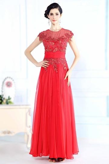 Jolie Robe rouge longue pour soirée à mancheron
