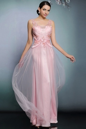 Robe de soirée rose sexy vintage en tulle dos nu