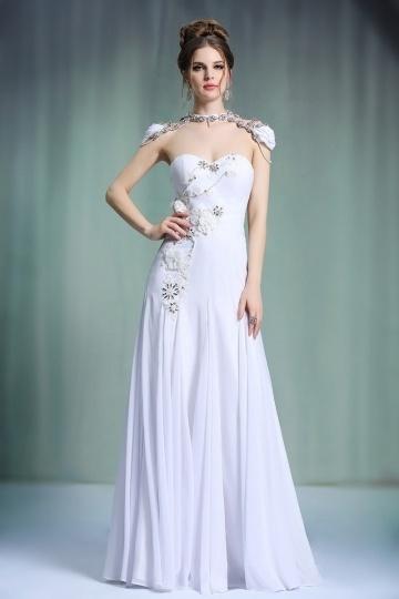 robe de cocktail de luxe bustier coeur appliqués à haut orné de bijoux