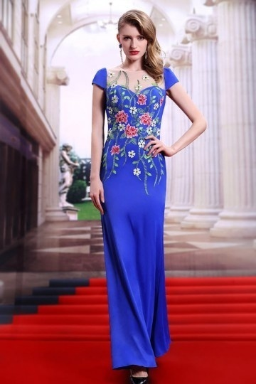 robe-de-soiree-exotique-bleu-royal-brocart-a-mancherons