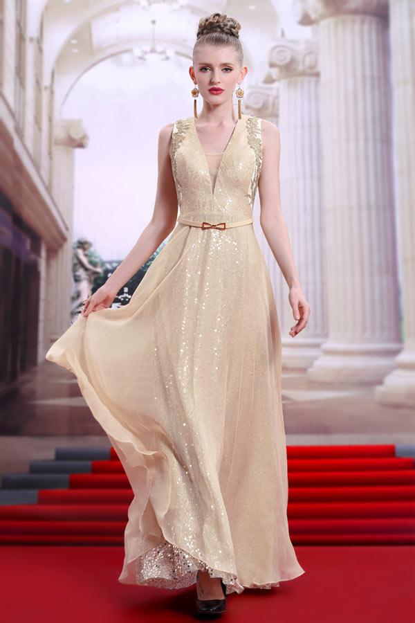 robe de bal longue champagne sequins col v appliqu. Black Bedroom Furniture Sets. Home Design Ideas