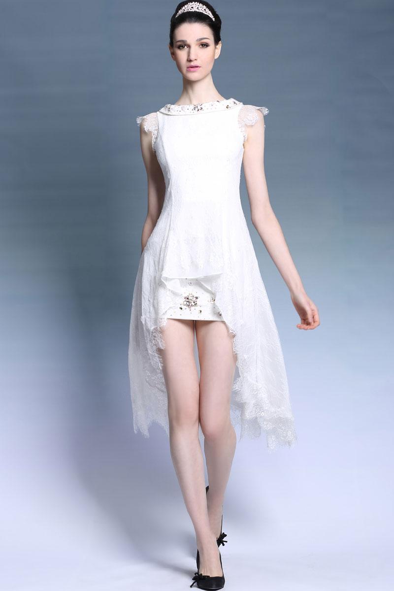 robe blanche dentelle courte devant longue derri re. Black Bedroom Furniture Sets. Home Design Ideas