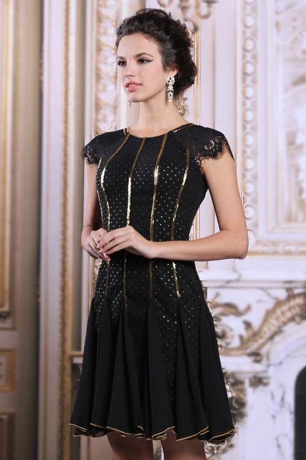 Robe de cocktail vintage velours noir - vintedfr