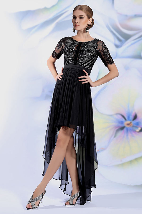 robe noire de soir e courte devant longue derri re manches courtes. Black Bedroom Furniture Sets. Home Design Ideas