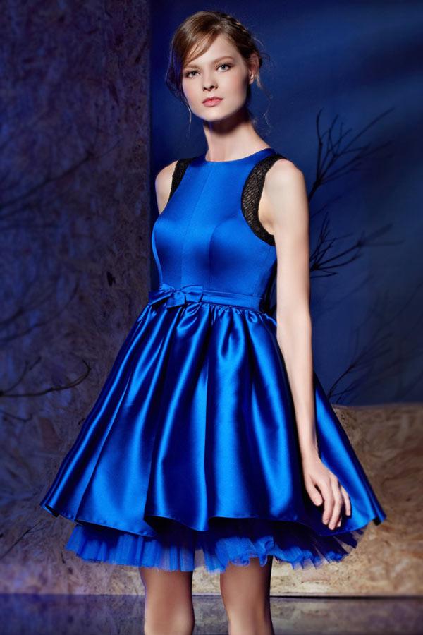robe de cocktail bal bleu lectrique courte jupe bi mati re. Black Bedroom Furniture Sets. Home Design Ideas