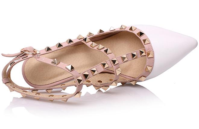 sandale blanche et rose à bout pointu