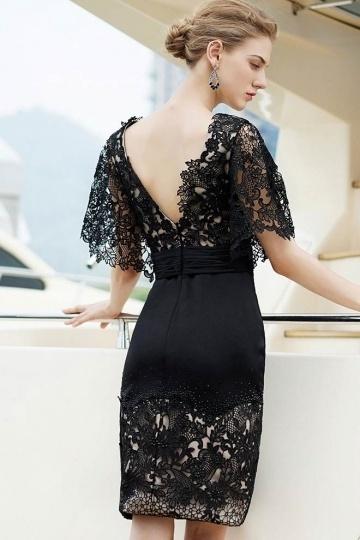 petite robe noire en dentelle dos d collet v. Black Bedroom Furniture Sets. Home Design Ideas