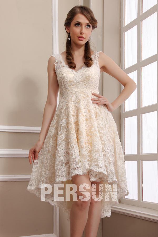 ... de mariée plage Robe de mariée plage en dentelle meringue courte