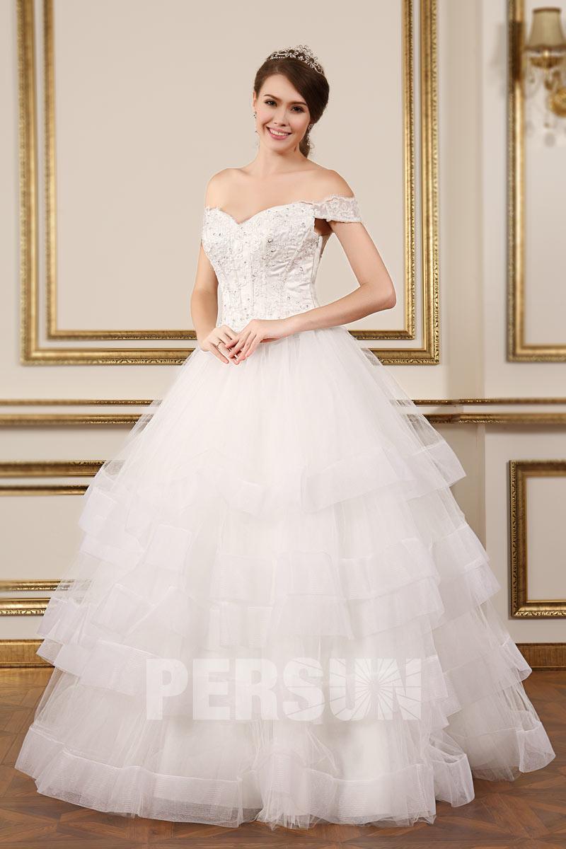 Romantique robe de mari e paule d nud e coupe princesse for Robes de mariage abordables