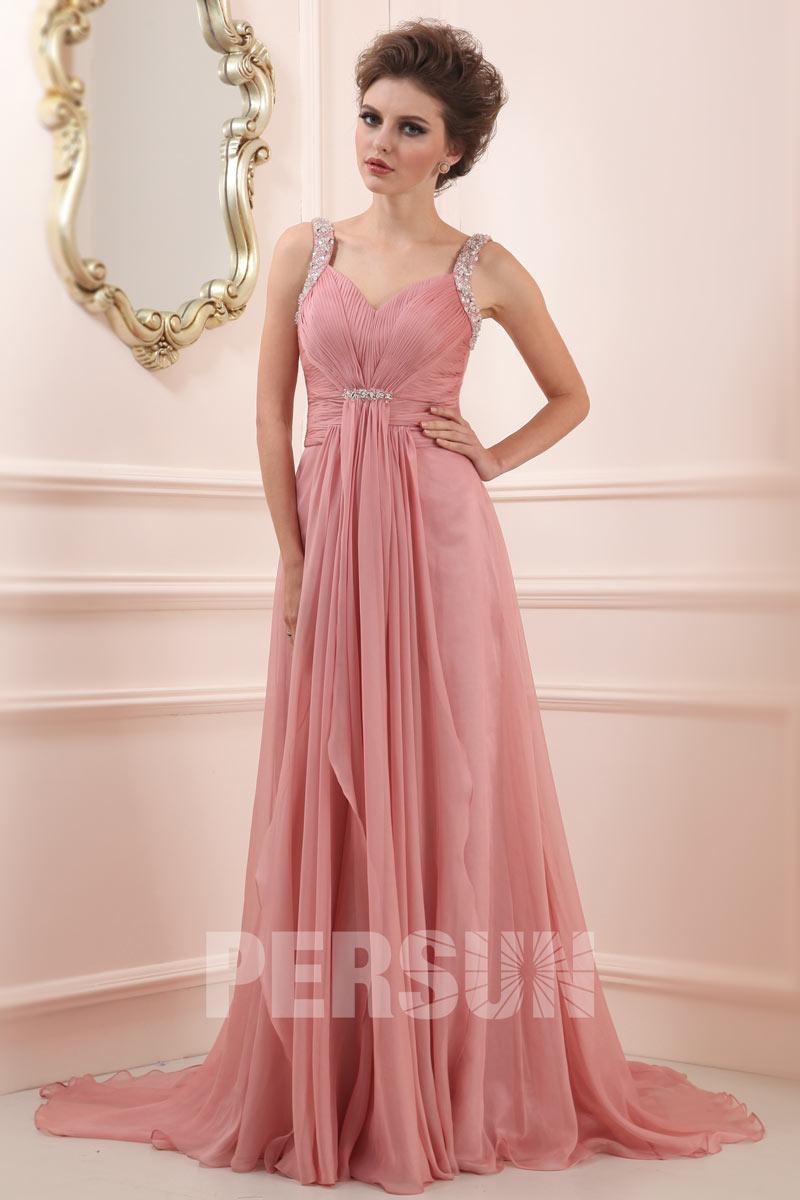 robe de c r monie longue vieux rose avec bretelles. Black Bedroom Furniture Sets. Home Design Ideas