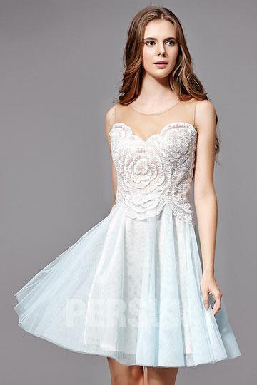 robe-de-bal-courte-bicolore-bustier-brode-motif-floral-en-tulle