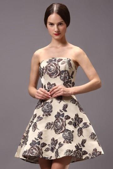 Mini robe de cocktail bustier florale