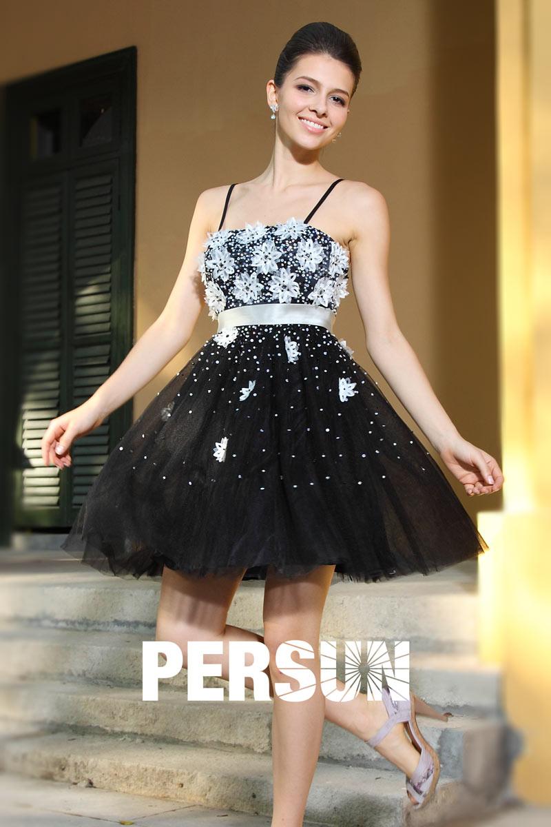 Robe Bal De Promo Courte : robe de bal courte tutu noire avec bretelles ~ Nature-et-papiers.com Idées de Décoration