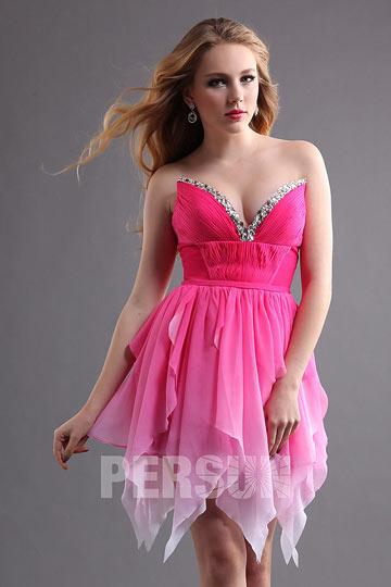 Sexy Robe de bal courte en mousseline rose bonbon dégradé