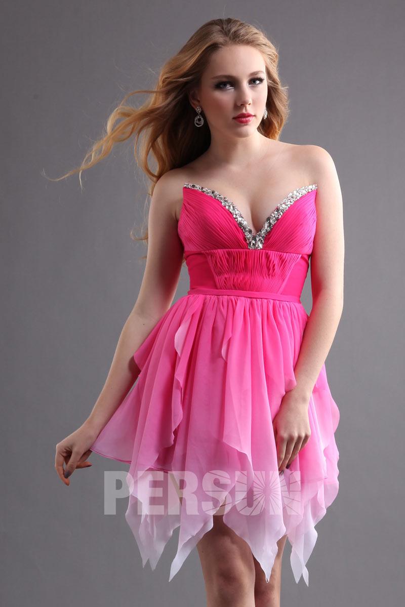 sexy robe de bal courte en mousseline rose bonbon d grad. Black Bedroom Furniture Sets. Home Design Ideas