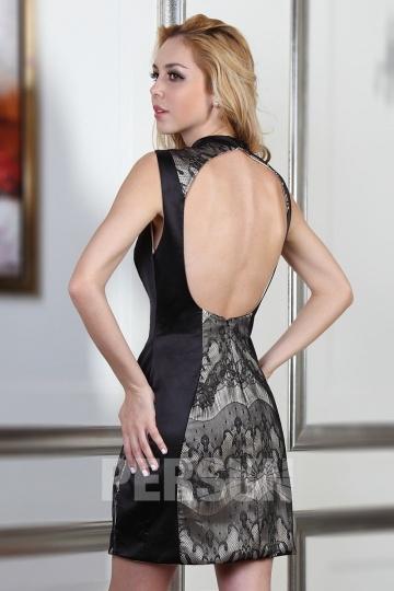 Robe courte noire dentelle dos découpe