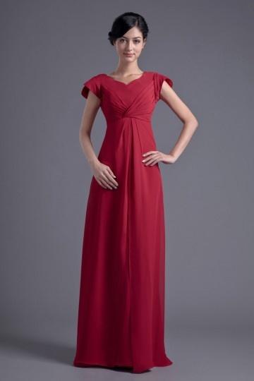 Robe longue pour mère de la mariée et demoiselle d'honneur longue en mousseline rouge