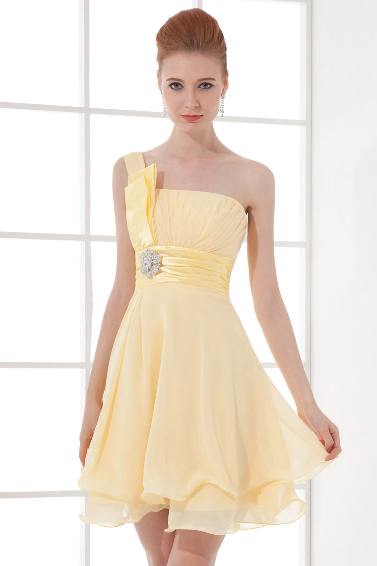 Cute A-Line One Shoulder Chiffon Cocktail Dress