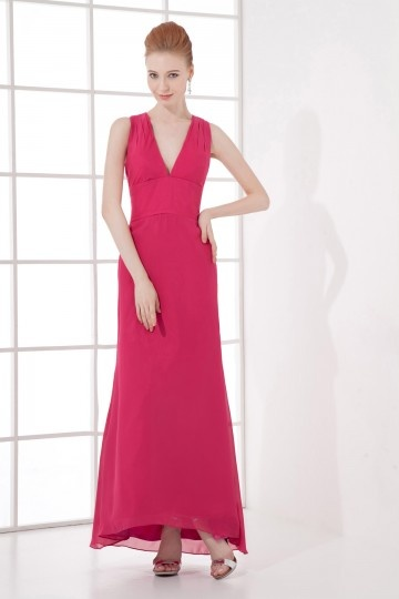 Robe rouge longue sexy encolure en V plongeant Empire en mousseline